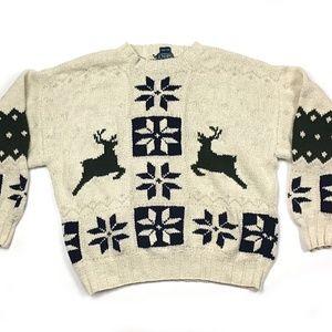 Chaps Ralph Lauren Linen Blend Reindeer Sweater XL